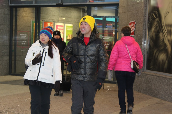 Foreign tourists were seen at Rovaniemi City centre. DF Photo.