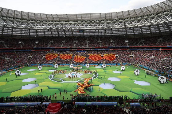 Photo taken on June 14, 2018 shows the opening ceremony of the 2018 FIFA World Cup in Moscow, Russia. Photo Xinhua by Cao Can.