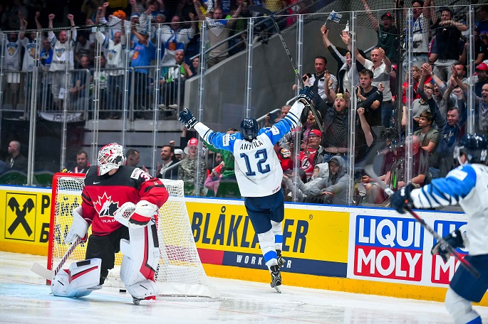 Marko Anttila (C) of Finland celebrates after scoring a goal during the 2019 IIHF Ice Hockey World Championship Slovakia final between Canada and Finland at Ondrej Nepela Arena in Bratislava, Slovakia on May 26, 2019. Photo Xinhua/Pawel Andrachiewicz.