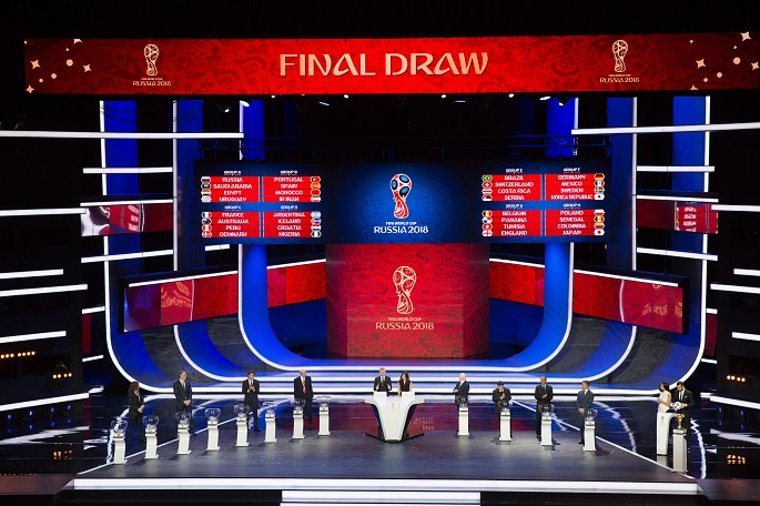 The result of the draw is shown on the screen during the Final Draw of the FIFA World Cup 2018 at the Kremlin Palace in Moscow, capital of Russia, Dec. 1, 2017. File Photo Xinhua.