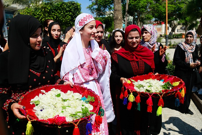 Image result for Palestinians in Gaza mark traditional costume day